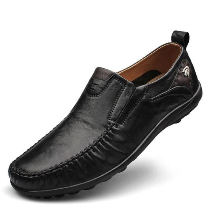 chaussure homme en cuir plates De Marque De Luxe ete chaussures cuir Nouvelle Mode Moccasin hommes Grande Taille Confortable 46