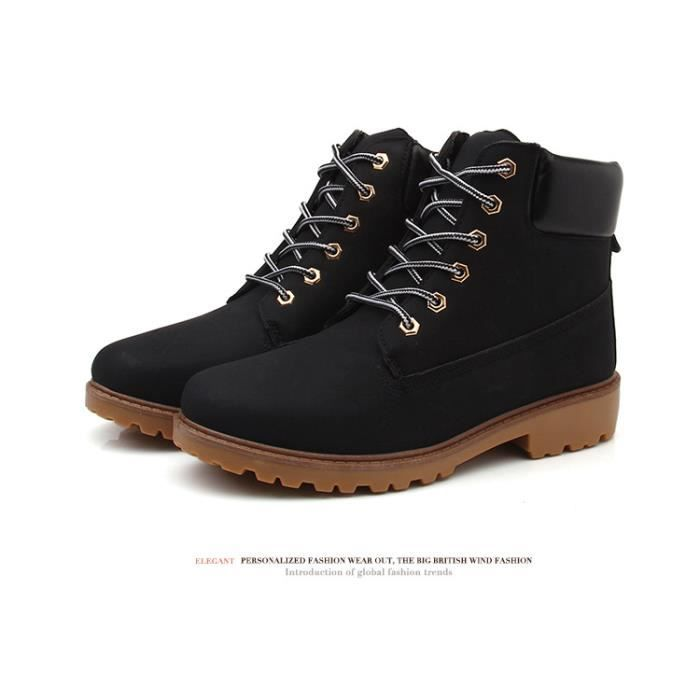 Autumn Winter Men's Martin Boots Fashion Mid Top Lacing MaleLeather Square Heel Wear-Resistant 0qM3cP