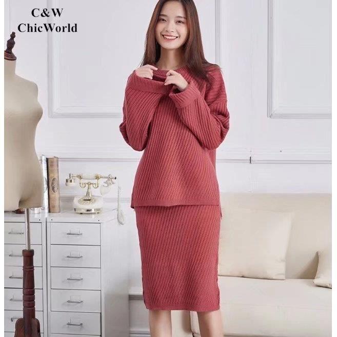 2017 Automne Hiver Tricoter Robe Femme Couleur Unie O Neck Manche Longue Grande Taille Robe de Bureau