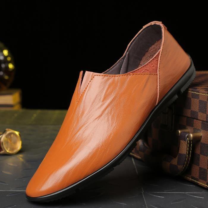 Chaussures plates en cuir véritable pour hommes Peas Chaussures plates Soft Bottom Jeunes Hommes Chaussures Taille 38-44 W8fzQTZ9WH