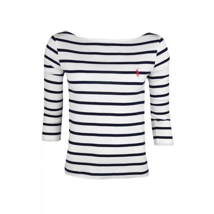 T-shirt manches 3 4 Ralph Lauren rayé bleu marine et blanc pour femme -  Taille  L - Couleur  Blanc 6d4dbdd163e0