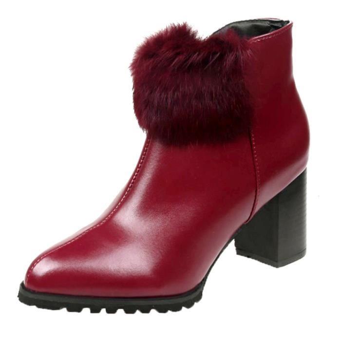Femmes Chaussures à talon en cuir Martain couleur PointedToe Bottes  Chaussures solide Zipper rouge d3acc4a429d5
