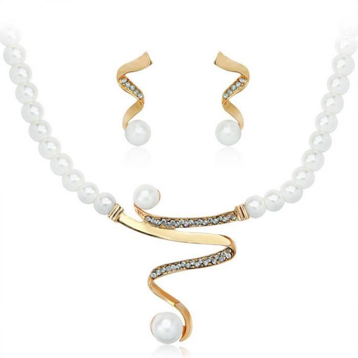 collier boucles d'oreilles bijoux Set strass perle Femme