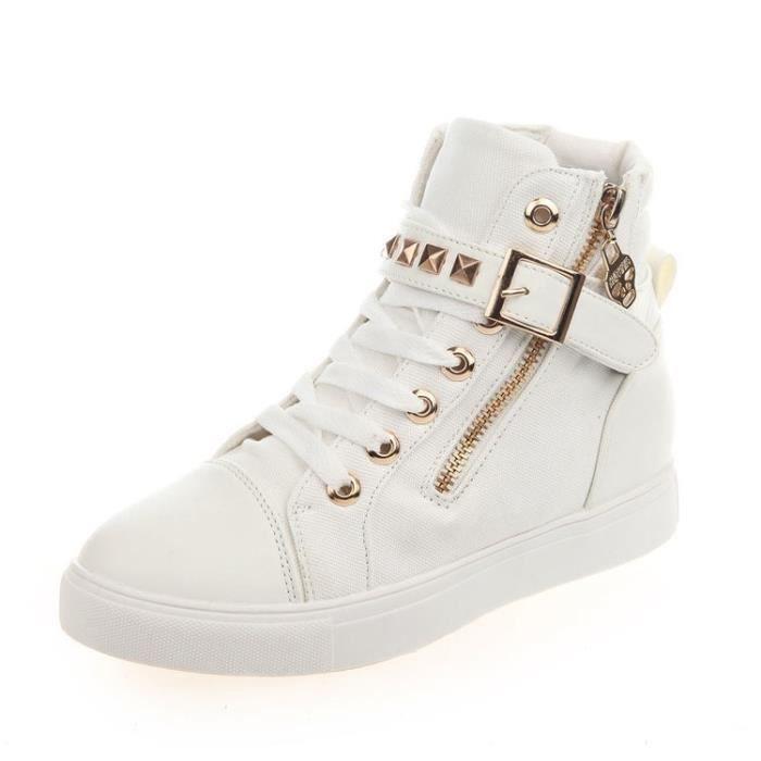 Blanc Rivet Zipper chaussures chaussures Souliers Lace seul tour.