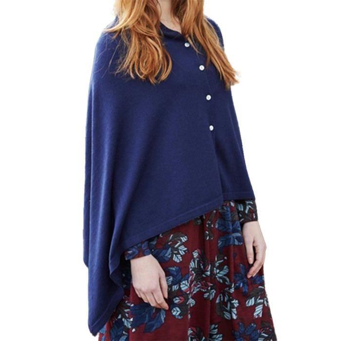 Hem Femmes À Longues Manches Solide Cap Bouton shirt Irrégulières Bleu Hauts T fqBS4