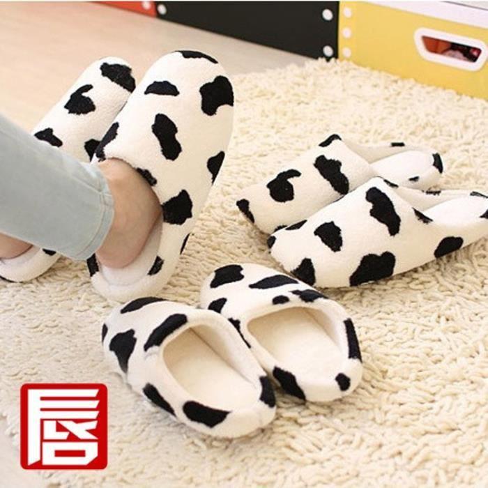 Cotton Lips Milk Mode Pantoufles Cartoon chaud Couple chaussons hommes et femmes Chaussons Chaussures,marron,38