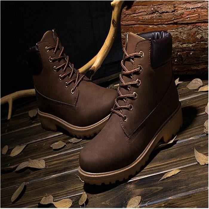 Martin Bottines Femmes Confortable Classique En Cuir Peluche Boots BLKG-XZ031Marron38-jr