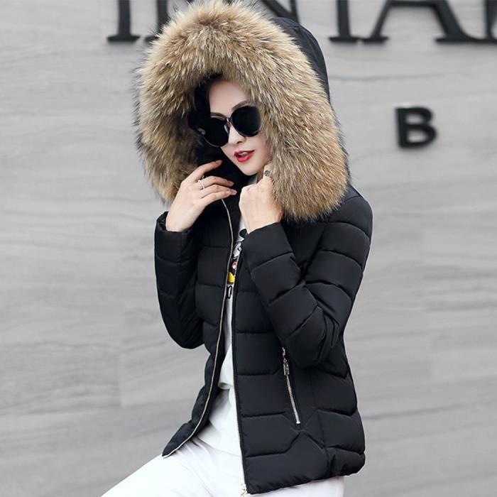 Matelassé Doudoune Capuche Épaisse Fourrure Chaud Zippé Femme noir Grande Jaune En Avec Coton Col Courte Taille D'hiver Amincissant tgWArgwq