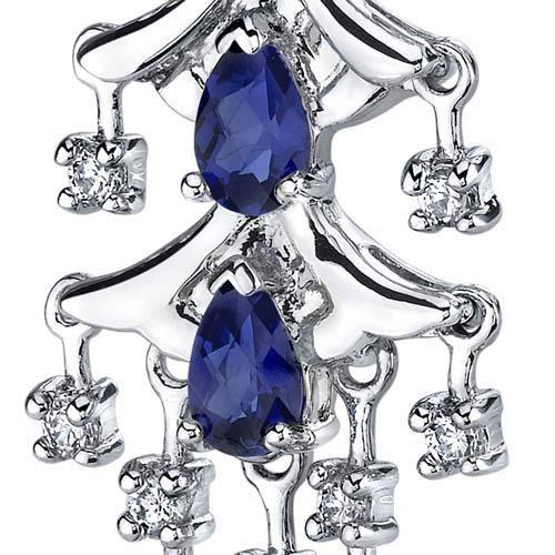 Boucles doreille Pendantes -Argent- Saphir Bleu
