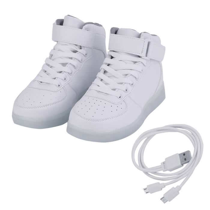 LED USB Shoes Sport Sneakers Lumineuses Chaussures Femme Fille Mode BLANC Taille:37 RegjA