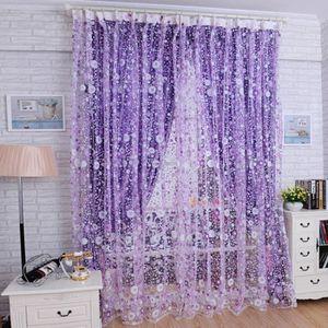 RIDEAU DE PORTE Floral Tulle voile porte Rideau rideaux panneau vo