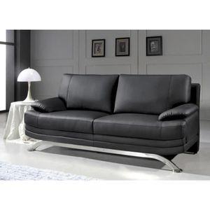 Canape 3 Places En Cuir Noir Design Pied Chrome Achat Vente