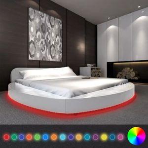 LIT COMPLET Lit avec matelas LED 180 x 200 cm Rond Cuir artifi