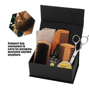 KIT RASAGE Soin Barbe Moustache Cire Baume à l'Huile Brosse P