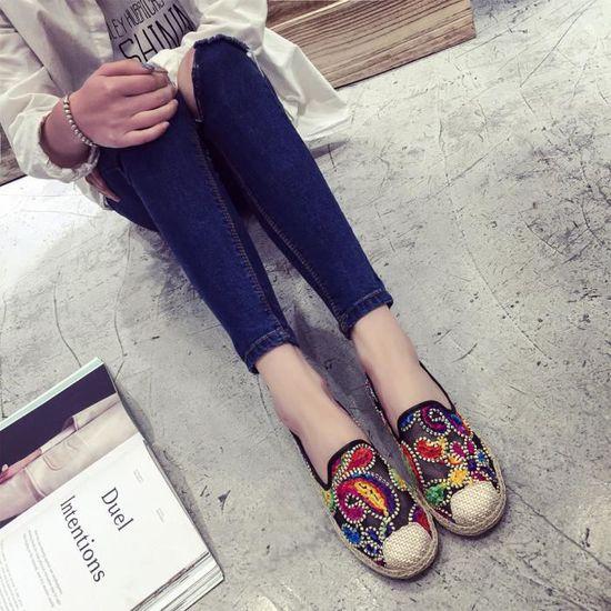 Femmes Slip Casual On Flat doux et respirant Chaussures de loisirs bas en dentelle @Noir Benjanies Noir Noir - Achat / Vente slip-on