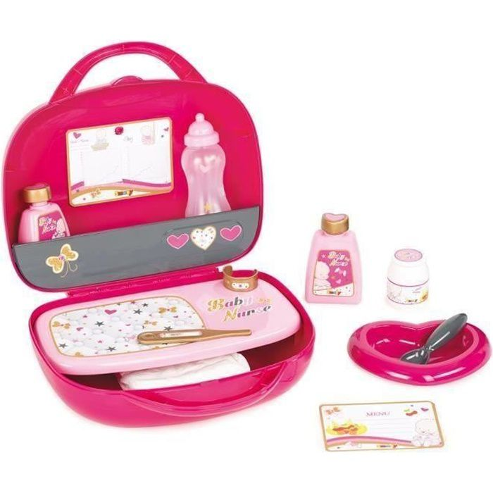 SMOBY Baby Nurse Vanity Rose + 12 Accessoires