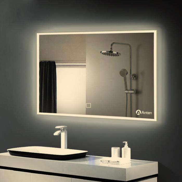 anten 80 x 60 cm miroir clairage led lampe 19w salle de. Black Bedroom Furniture Sets. Home Design Ideas