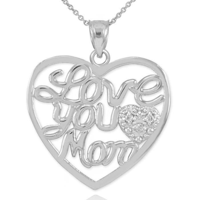 Pendentif Pendentif 14 ct de Diamants en or 585/1000 Pave Blanc Cœur Love You Mère