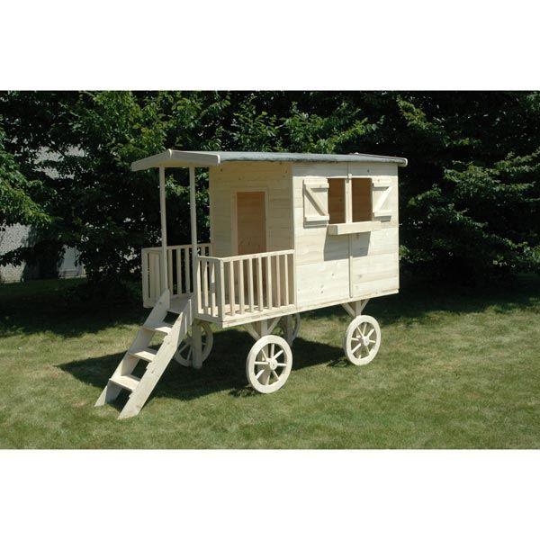 cabane pour enfant roulotte en bois aventura l2 achat vente maisonnette ext rieure cdiscount. Black Bedroom Furniture Sets. Home Design Ideas