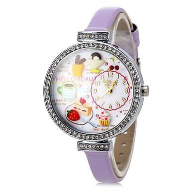 Montre pour femme coffee time d cor pourpre cuir f achat vente montre soldes d s le 10 for Montre decoration