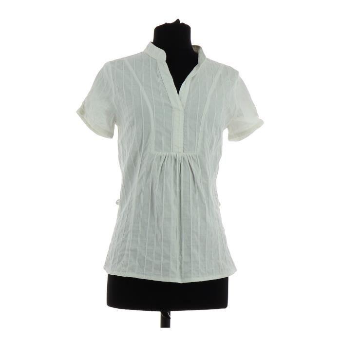 60% pas cher le moins cher belle qualité Blouse ETAM Blanc Blanc - Achat / Vente chemisier - blouse ...