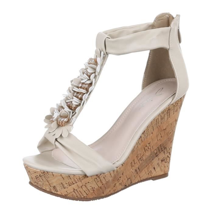 Femme chaussures sandales High Heels escarpinBeige 41 2Xmle
