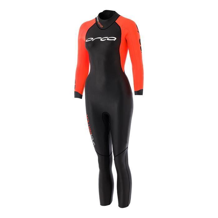 27001ea39c5 Combinaison néoprène Orca Openwater avec manches femme noir orange ...
