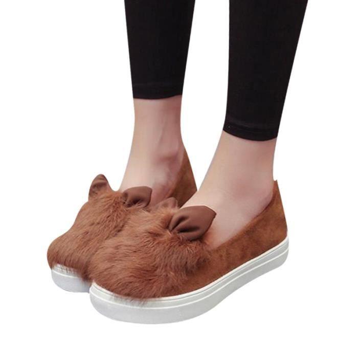 chaussures plate-forme appartements d'hiver De Mode Réel Chaussures Femme oreilles de fourrure Chaussures Femmes Low Cut loisirs