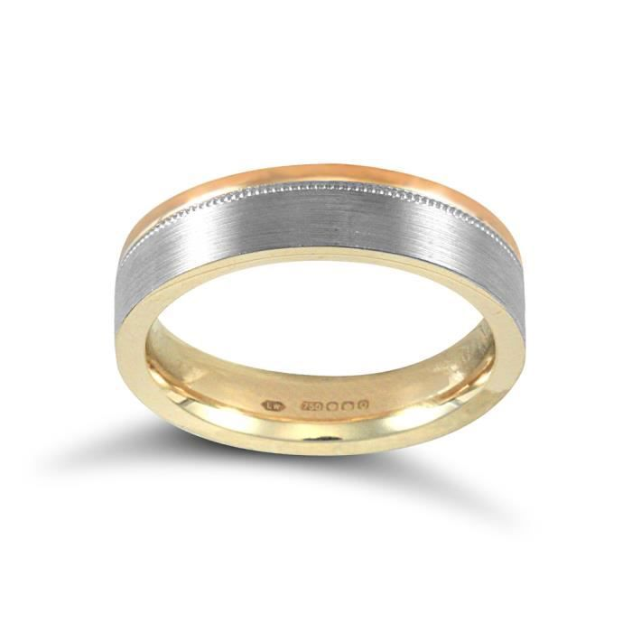 Jewelco London Or 2 couleurs 18k mariage bague 5mm