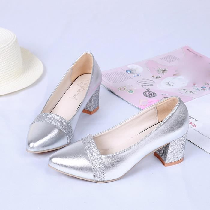 Mode élégant à talons hauts chaussures pointues Souliers de mariage Chaussures de mariage femmesargent WE529 nFOeihj