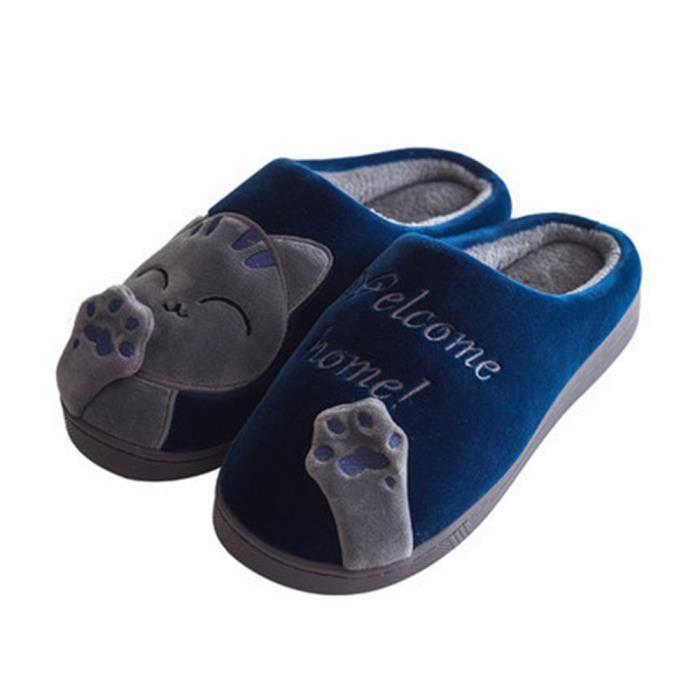 De Hiver Pantoufle Chaud Mignon Chausson Hommes Luxe Chaussures Confortable Chat Homme Peluche Plusieurs Marque PwHYqxgC