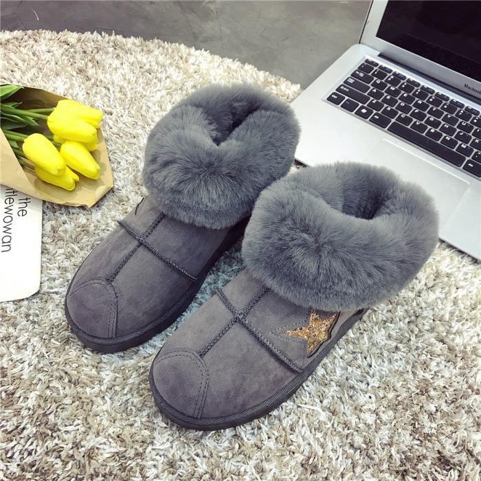 Femmes Bottine Nouvelle Mode Bottes de neige Hiver Chaud Les Chaussures De Loisirs Personnalité Femme Bottines Plus Taille Nzw1O