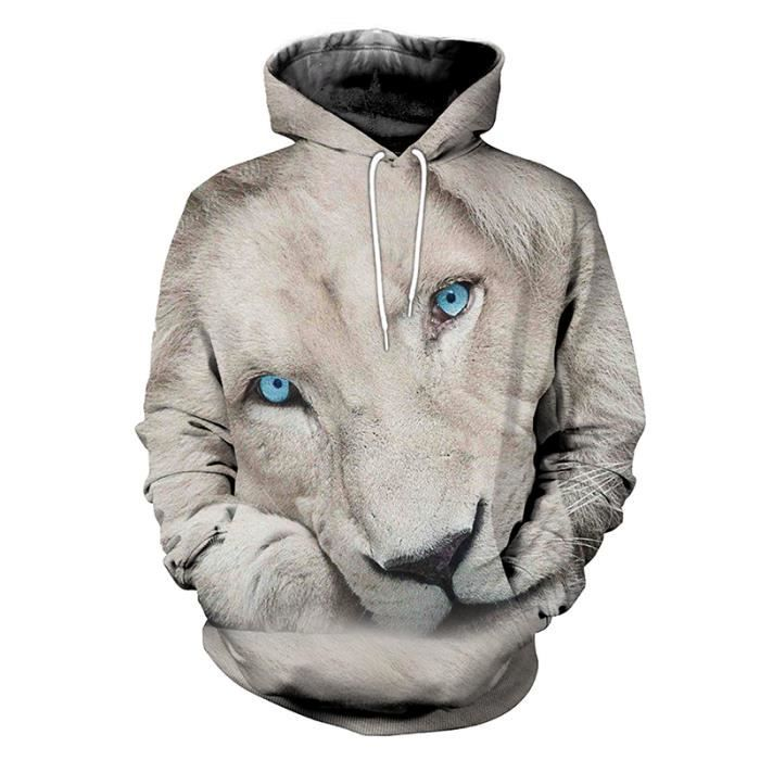 Sweat-shirts Homme Lion Sweaters à CapuchePulls Blouse Unisexe Pull-Overs  Jumpers 0f7d24feea1