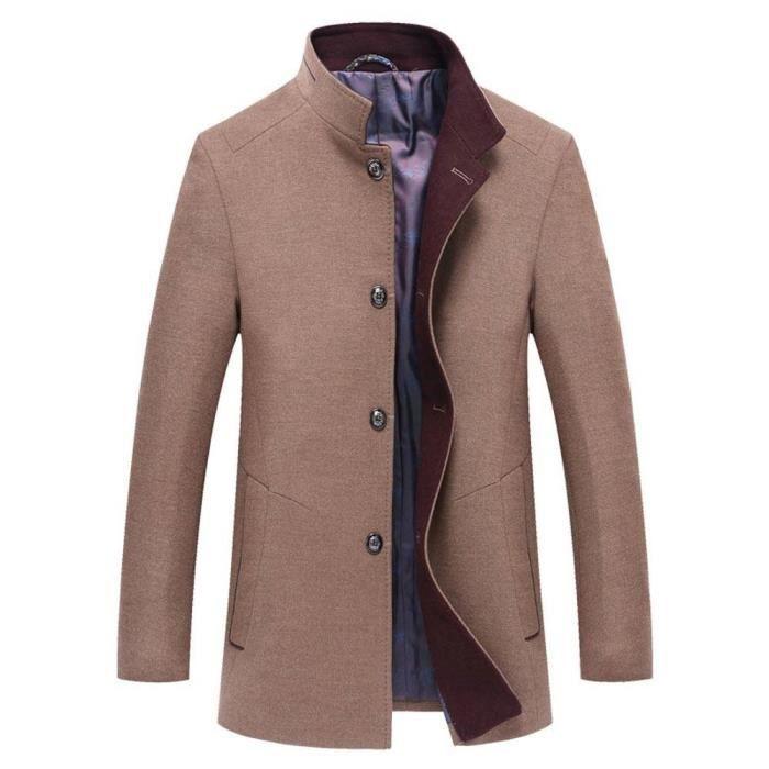 Veste Couleur hiver Automne Unie Manteau Montant Elegant Homme Court Laine Col Casual w18Zq