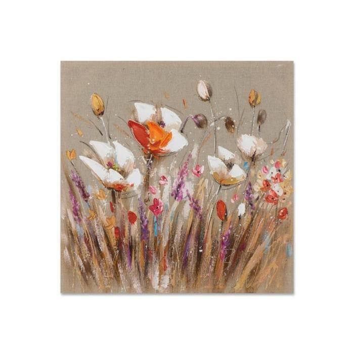 Fleurs 40x40 Peinture Acrylique Carrée Marron Et Beige Achat