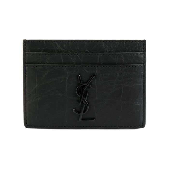 saint laurent homme 485631c9h0u1000 noir cuir porte cartes. Black Bedroom Furniture Sets. Home Design Ideas