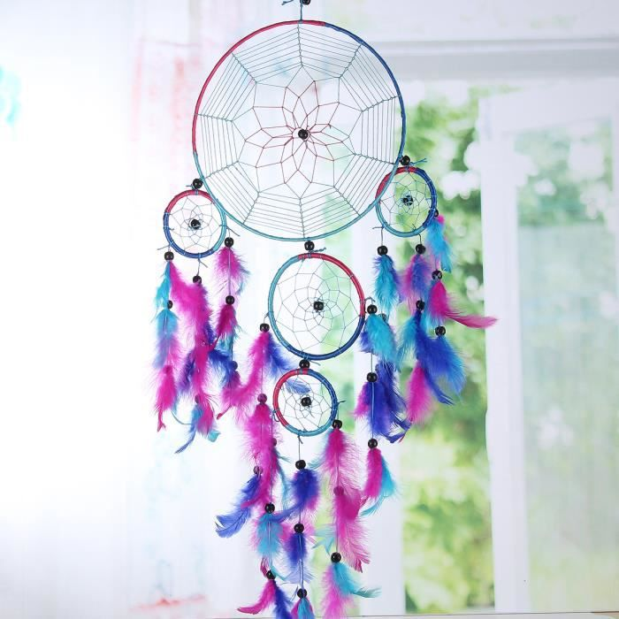 bleu rose rouge dream catcher attrape r ves dreamcatcher plume suspendus tenture achat vente. Black Bedroom Furniture Sets. Home Design Ideas