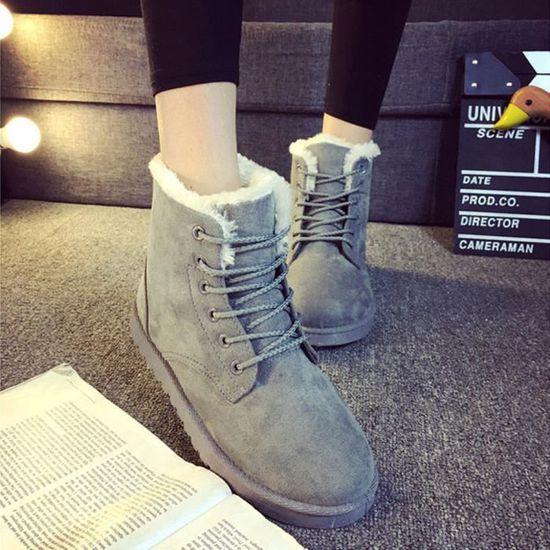 Gris Fur D'hiver Mode Dames Bottines Lined Pour Lacées Bottes Plates Neige De Chaussures z7xFYz