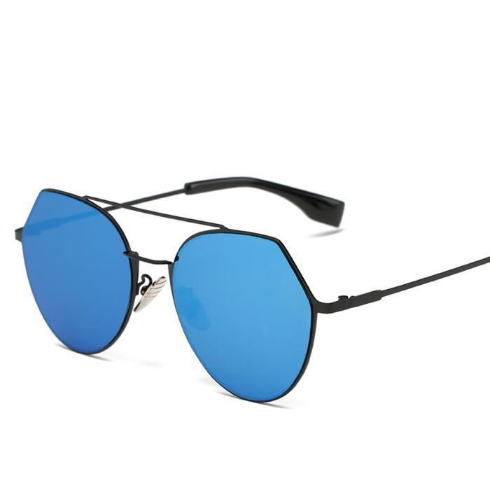 Femmes hommes Vintage rétrolunettes de soleil lunettes de mode unisexe Aviator lunettes de soleil lentille miroir bleu
