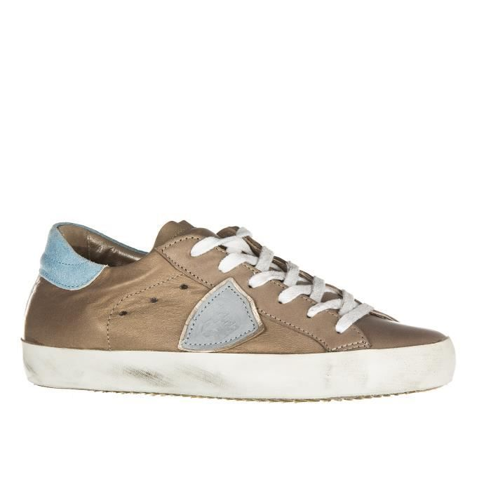 Chaussures baskets sneakers femme en cuir classic metallic Philippe Model usE34Pi