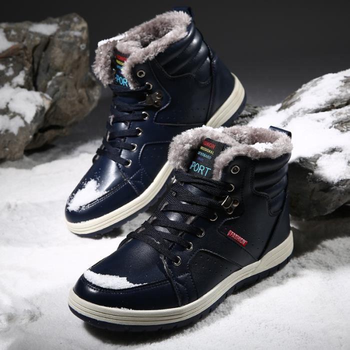 Bottes British Fashion Bottes d'hiver chaud hommes plus cachemire Bottines en cuir (noir, bleu, brun)