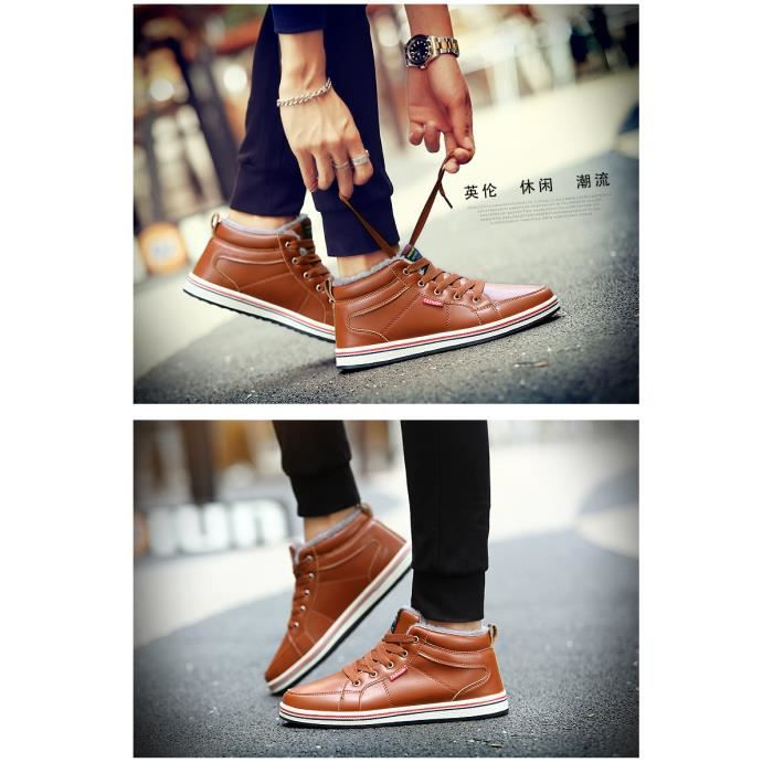 Bottes d'hiver chaussures pour hommes ainsi que des bottes de neige en coton velours chaud hommes l6peI