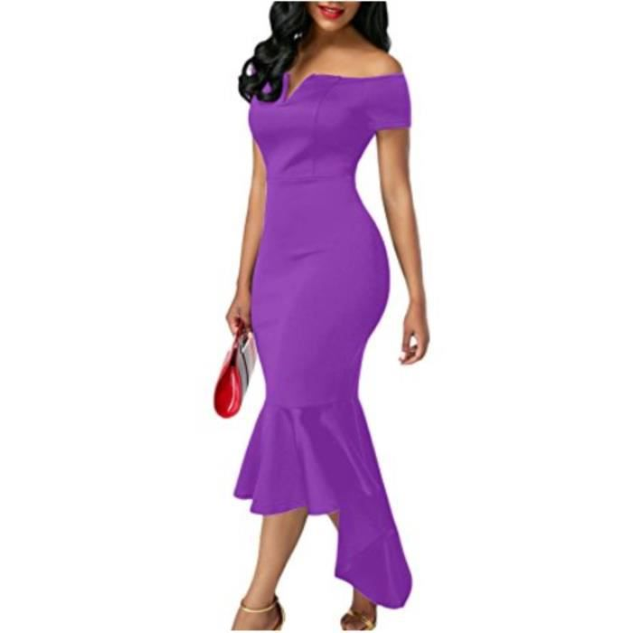 Womens 2017 Classic Style Fishtail Skirt Dresses Off Shoulder V Neck Evening Party Dresses 2YYU3N Taille-38
