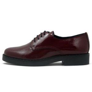 ... DERBY Chaussures femme derby, cuir brillant rouge bordea ... d705d958ff80