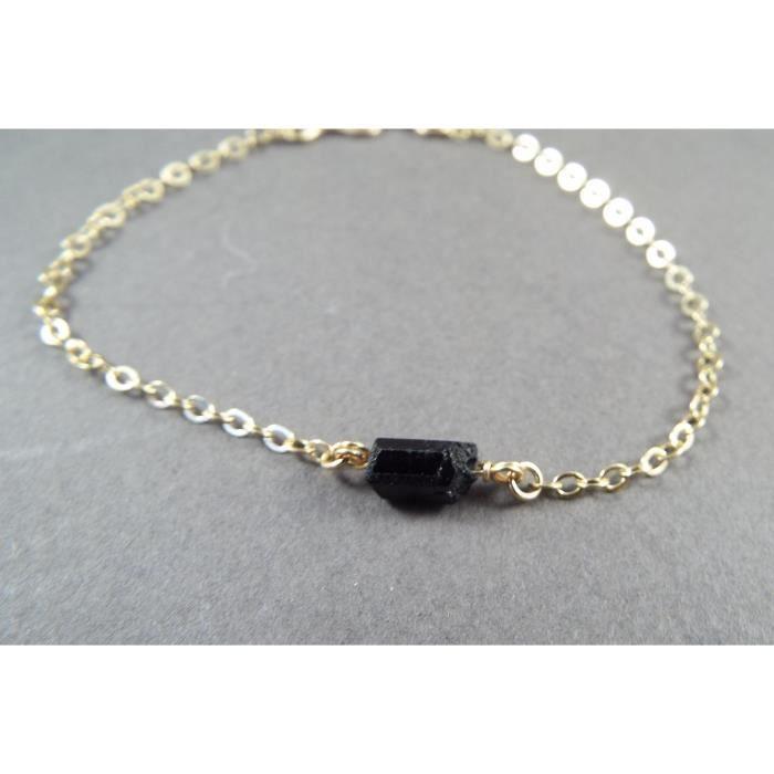 Raw Femmes Noir Tourmaline Or Simple Bracelet rempli (petit) SZI2X