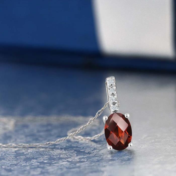 Pendentif En Or Blanc 14k - Grenat taille damier ovale et Diamant avec chaine - 0.82 ct