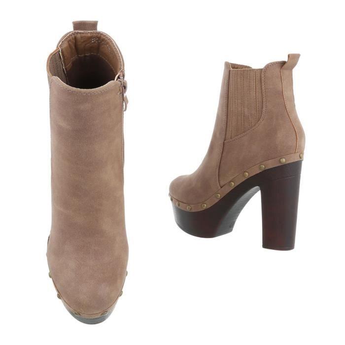 Chaussures femmes bottes High Heels marron clair 37 OOjDS1Y
