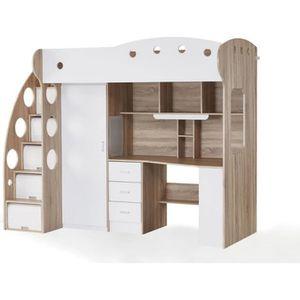 lit mezzanine avec bureau et rangement achat vente lit. Black Bedroom Furniture Sets. Home Design Ideas