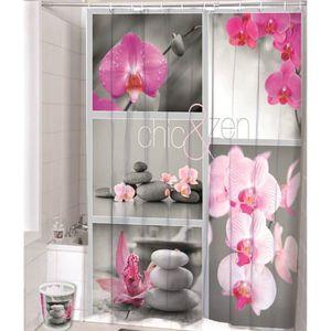 RIDEAU DE DOUCHE Rideau de douche Fleurs et pierres 3D effect imper