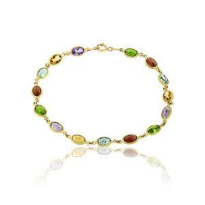 BRACELET - GOURMETTE Bracelet Or Semie-precieuse 5 Couleurs 6x4 Mm.